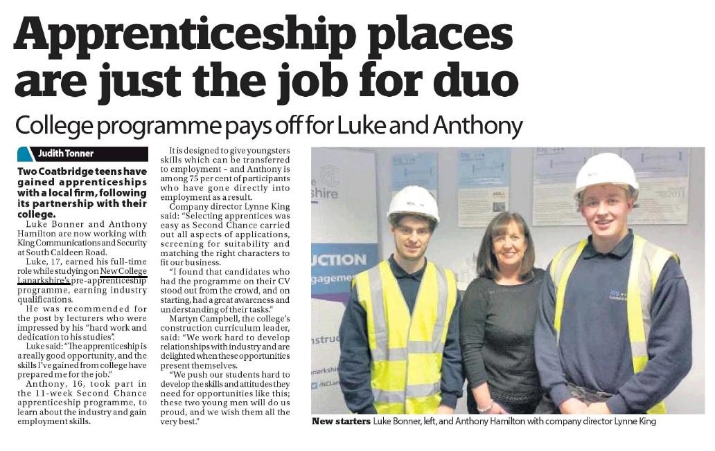 Airdrie & Coatbridge Advertiser - 9th December 2015 - Apprenticeship places are just the job for duo